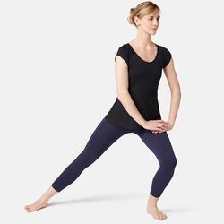 7/8-fitnesslegging dames 510 piping slim fit marineblauw/zwart
