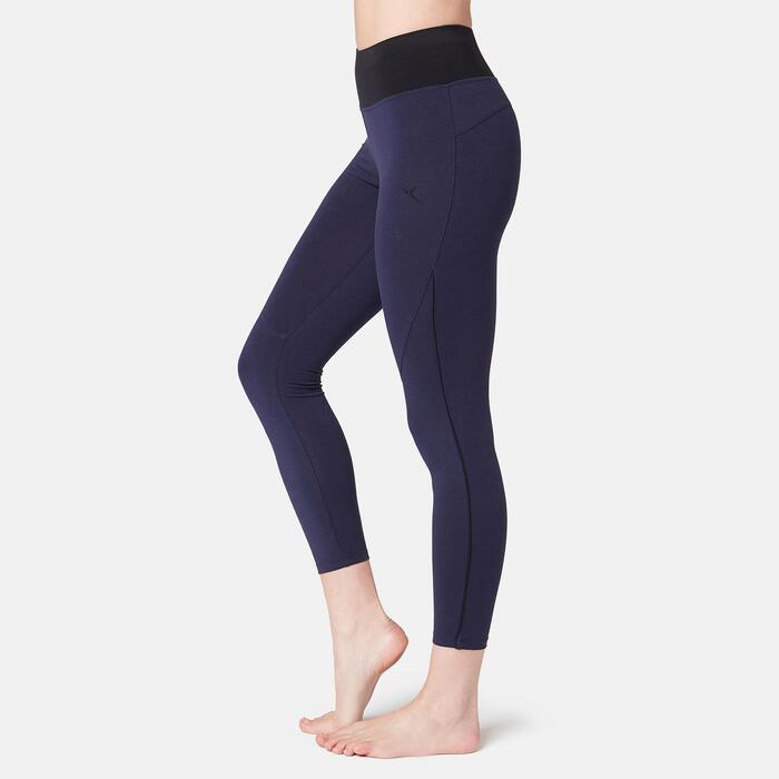 Legging 7/8 510 piping Fitness femme bleu marine/noir