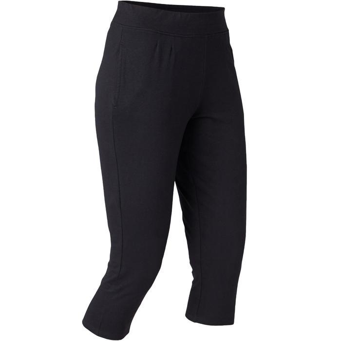 Corsaire Coton Fitness Fit+ Coupe Droite Noir