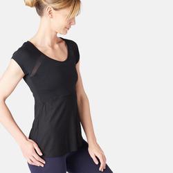 2-in-1 T-shirt voor pilates/lichte gym dames zwart