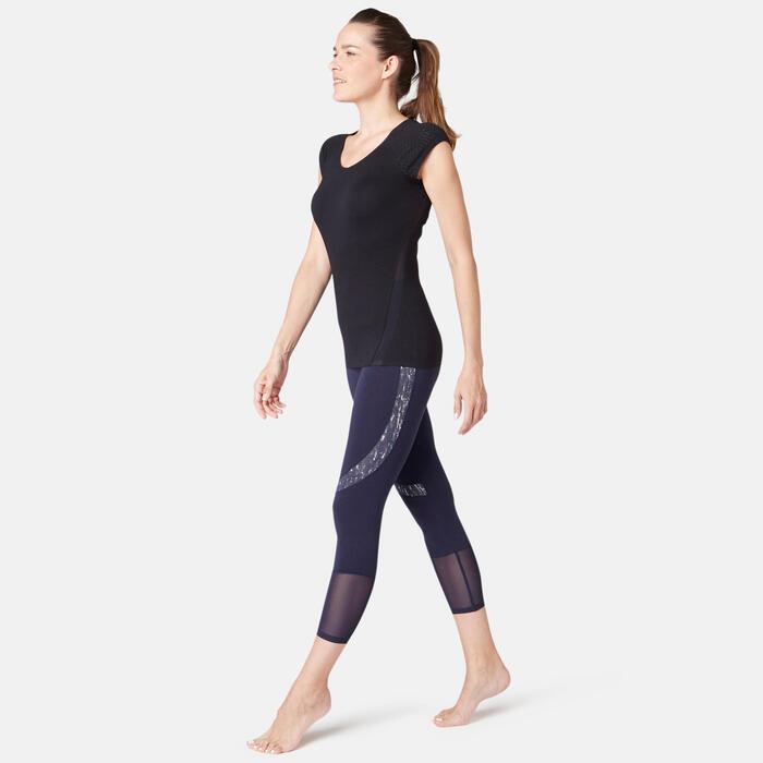 T-Shirt 530 dévoré Pilates Gym douce femme noir