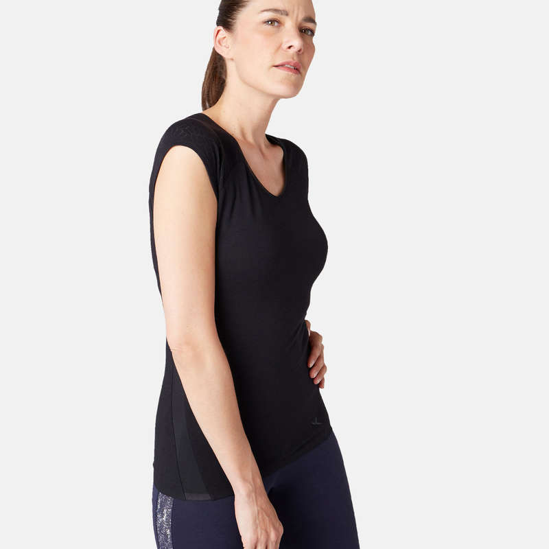 T-SHIRT, LEGGINGS, SHORT DONNA Ginnastica, Pilates - T-shirt donna gym 530 nera NYAMBA - Sport
