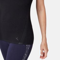 T-Shirt 530 Dévoré-Muster Pilates sanfte Gymnastik Damen schwarz