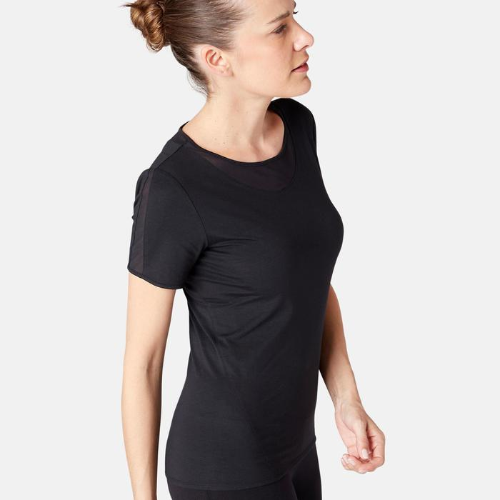 Dames T-shirt met tule voor pilates/lichte gym 520 zwart