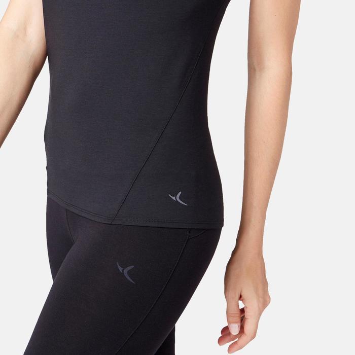 T-Shirt 520 Tüll Pilates sanfte Gymnastik Damen schwarz