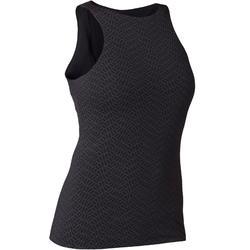 Camiseta Sin Mangas Tirantes GimnasiaPilates Domyos560 Mujer Negro Top Integrado