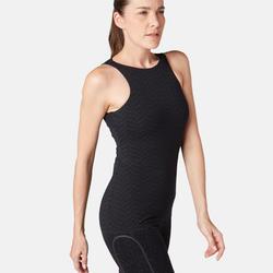 Damestopje 560 voor pilates/lichte gym, ingewerkte beha, zwart met print