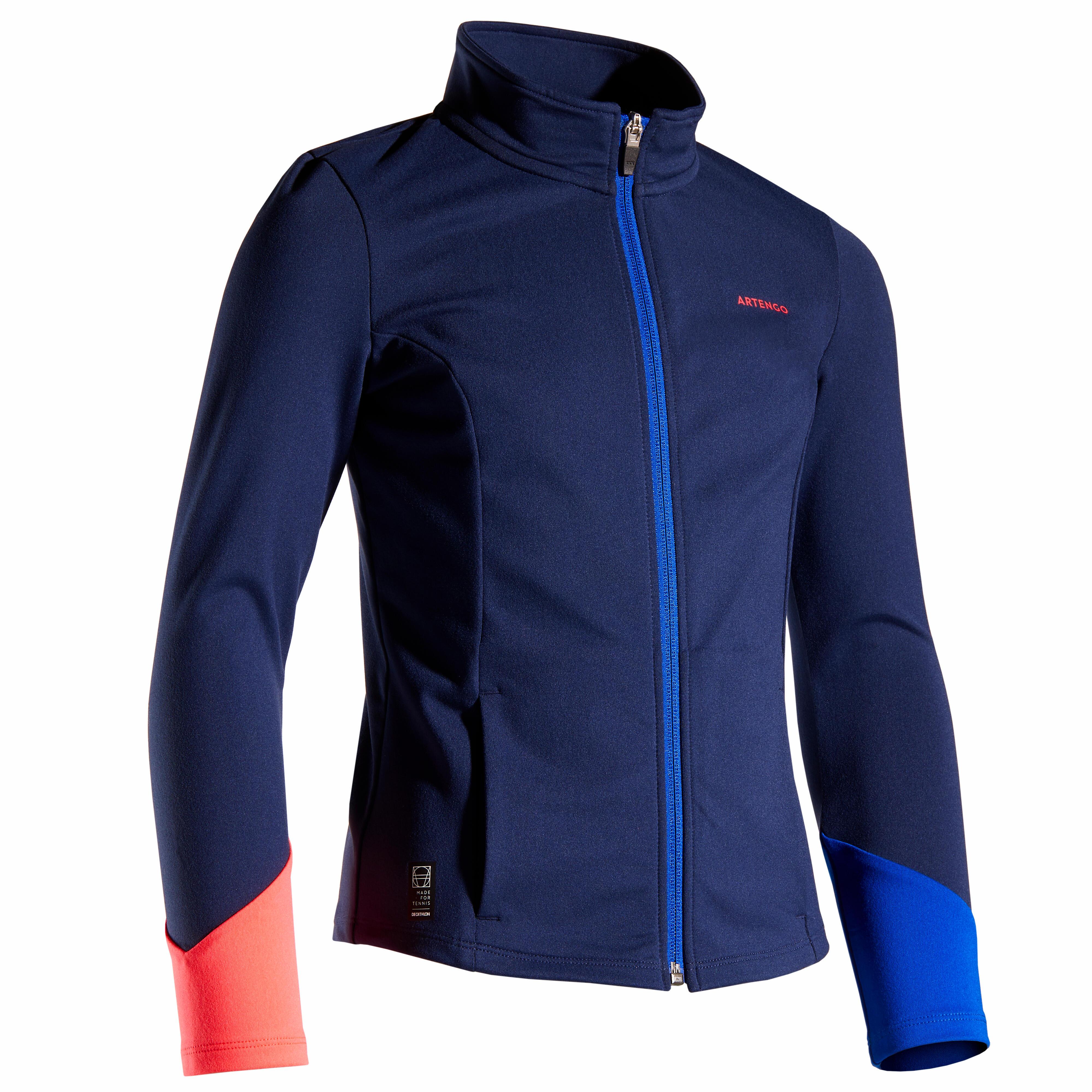 Trainingsjacke 500 warm Mädchen marineblau