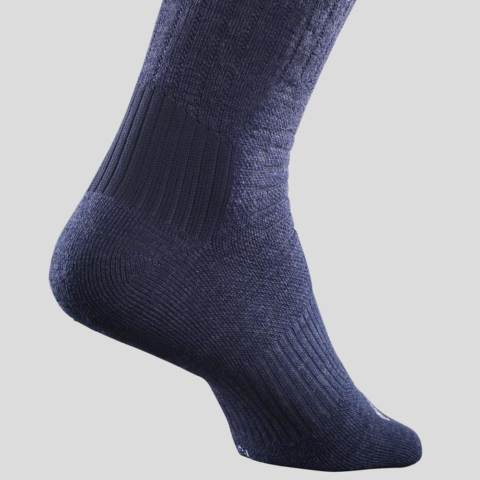 Chaussettes chaudes de randonnée adulte SH100 warm Mid bleues noires.