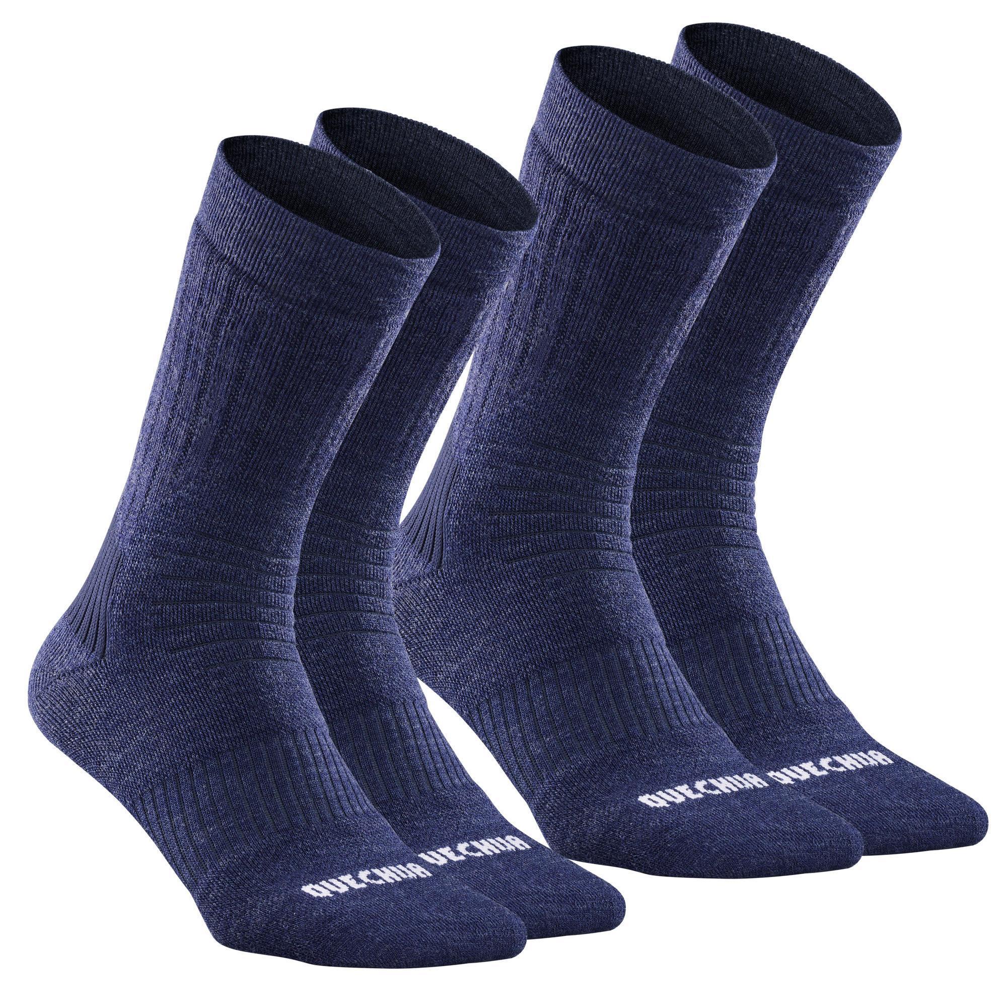 Chaussettes chaudes de randonnée adulte SH100 warm Mid bleues noires. - Quechua