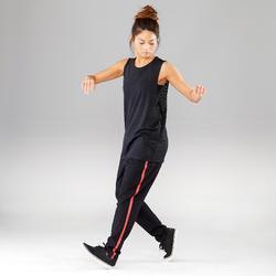 Pantalón con Franja Roja de Danza Urbana Unisex Negro