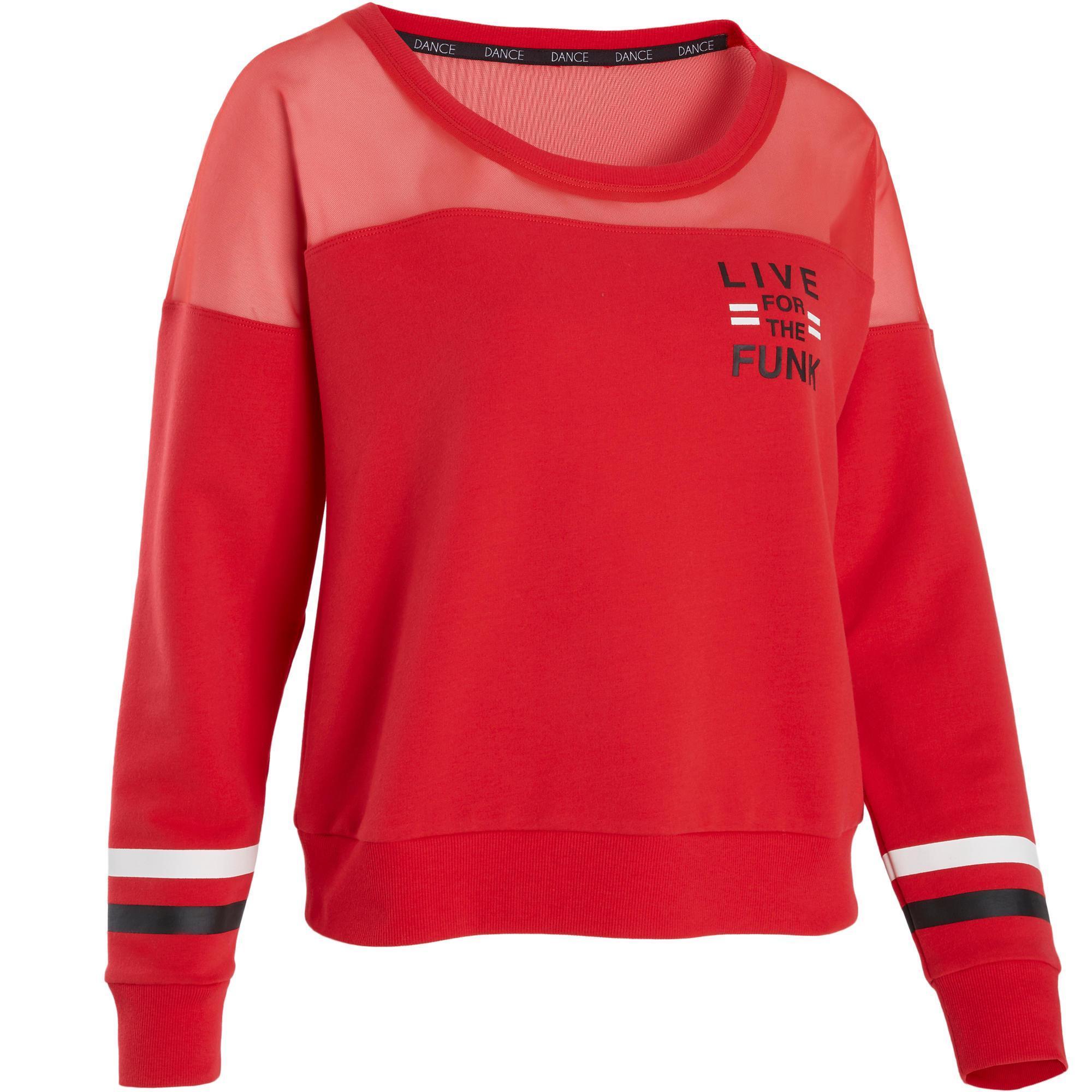 Sweat shirt rouge de danses urbaines femme domyos