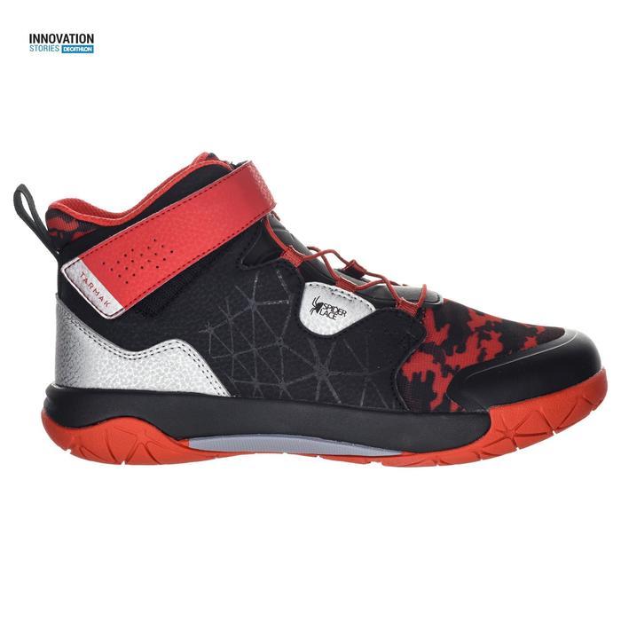 Zapatilla Baloncesto Tarmak Spider Lace 500 Niños Negro Rojo