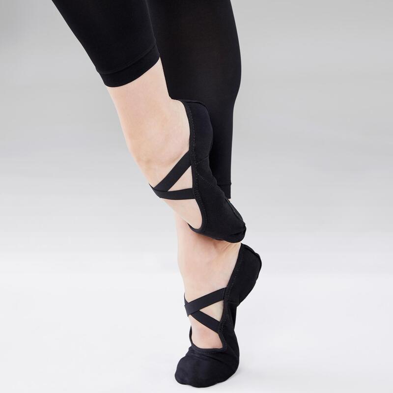 Medias puntas danza clásica suela partida tela stretch negro tallas 28-40