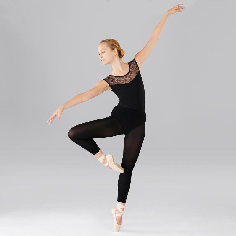 Women's Mixed Media Short-Sleeved Ballet Leotard - Black
