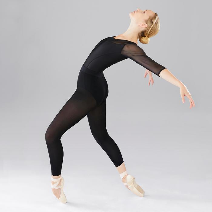 Justaucorps de danse classique bi-matière manches longues femme noir