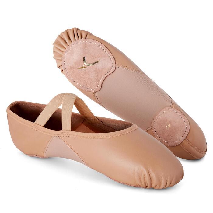 Demi-pointes danse classique bi-semelles en cuir souple beige tailles 41-42