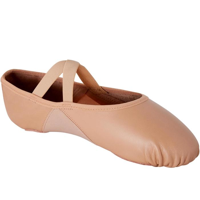 Balletschoenen leren demi-pointes met splitzool beige maat 41-42