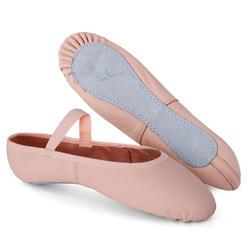 Balletschoenen leren demi-pointes met hele zool roze maat 25-40