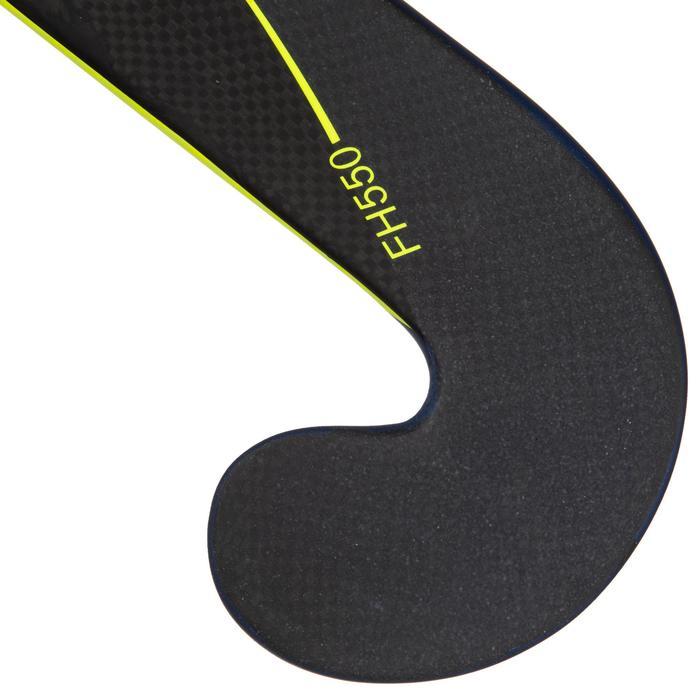 Veldhockeystick voor ervaren volwassenen mid bow 50% carbon FH500 geel/blauw