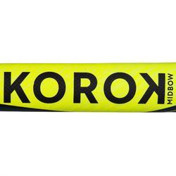 Stick de hockey sur gazon adulte confirmé midbow 50% carbone FH500 jaune et bleu