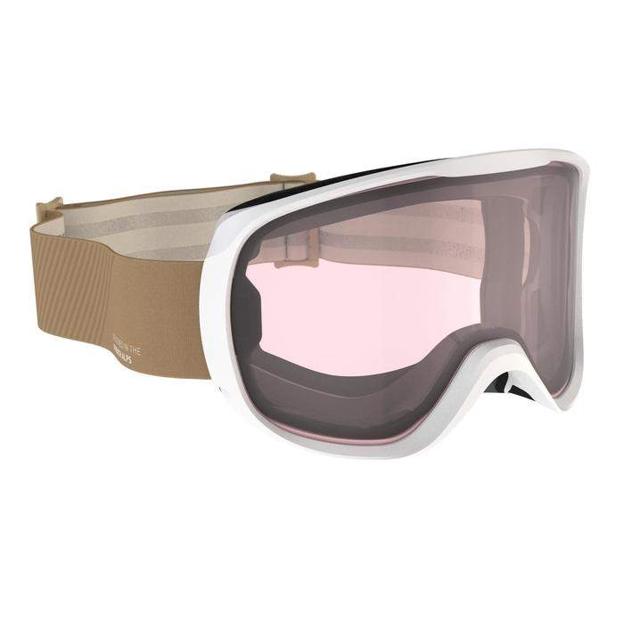 WOMEN'S AND GIRLS' SKIING SNOWBOARDING GOGGLES G 500 I ALL WEATHER - ASIA BEIGE