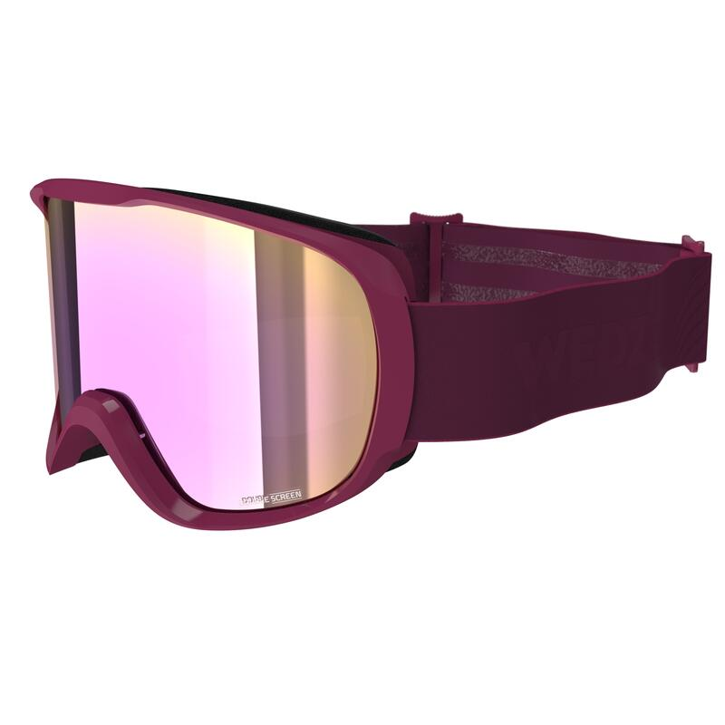 GIRL'S AND WOMEN'S SKIING AND SNOWBOARDING MASK G 500 GOOD WEATHER W PURPLE