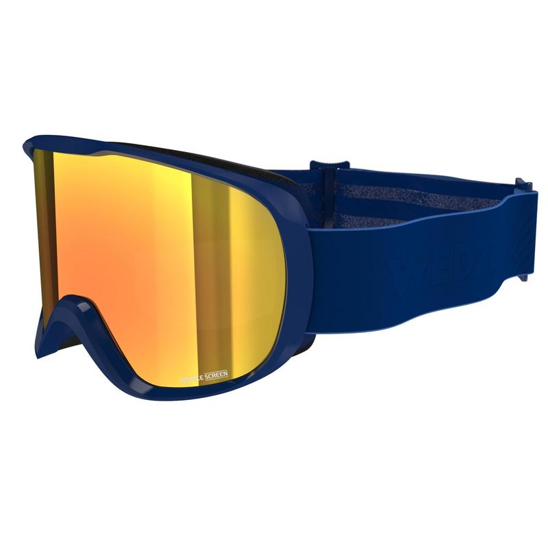 CHILDREN'S AND ADULT'S SKIING AND SNOWBOARDING GOGGLES G500 GOOD WEATHER BLUE