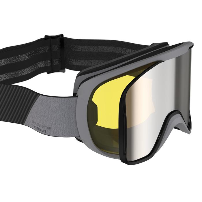 CHILDREN AND ADULT SKI AND SNOWBOARD GOGGLES G500 I - ALL WEATHER BLACK