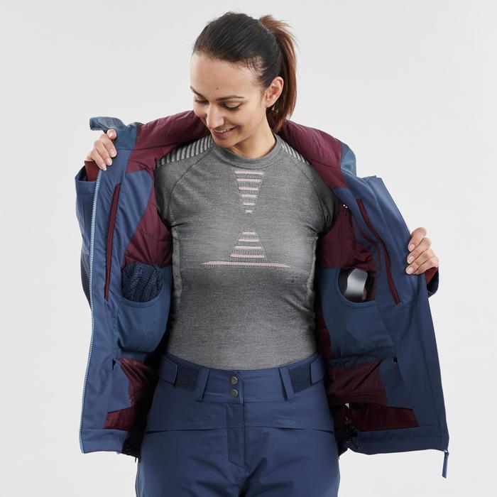 Waterdichte ski jas voor dames FR500 blauw winterjas