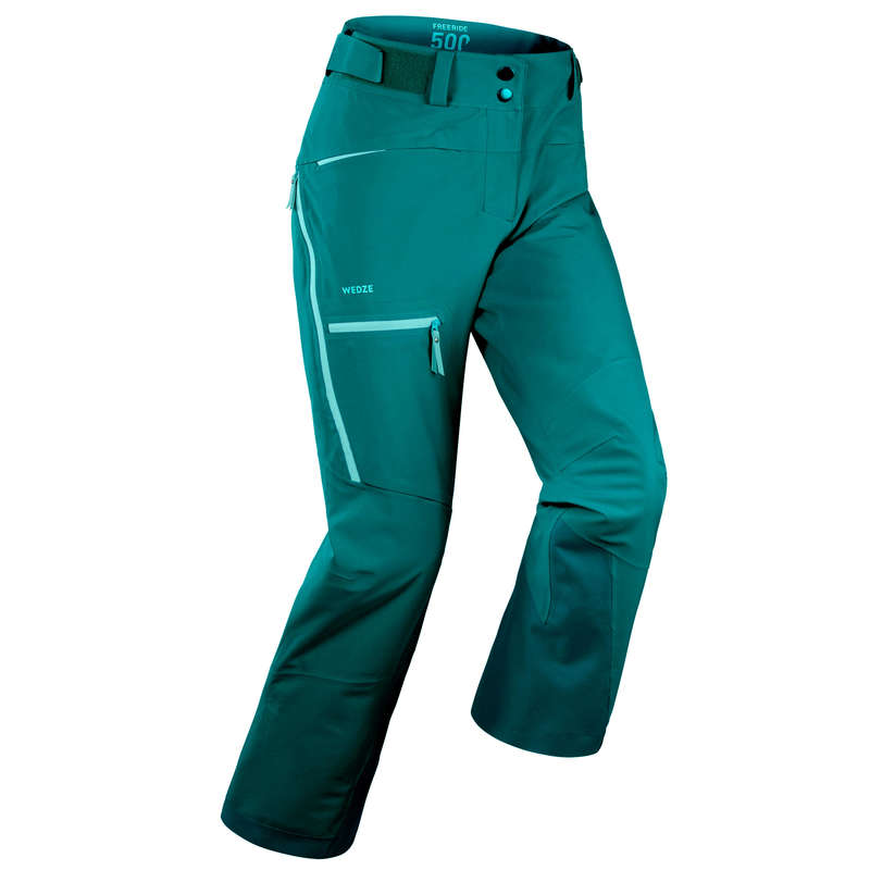 WOMAN'S FREERIDE SKIING CLOTHING Skiing - W SKI TROUSERS FR 500 - Green WEDZE - Ski Wear