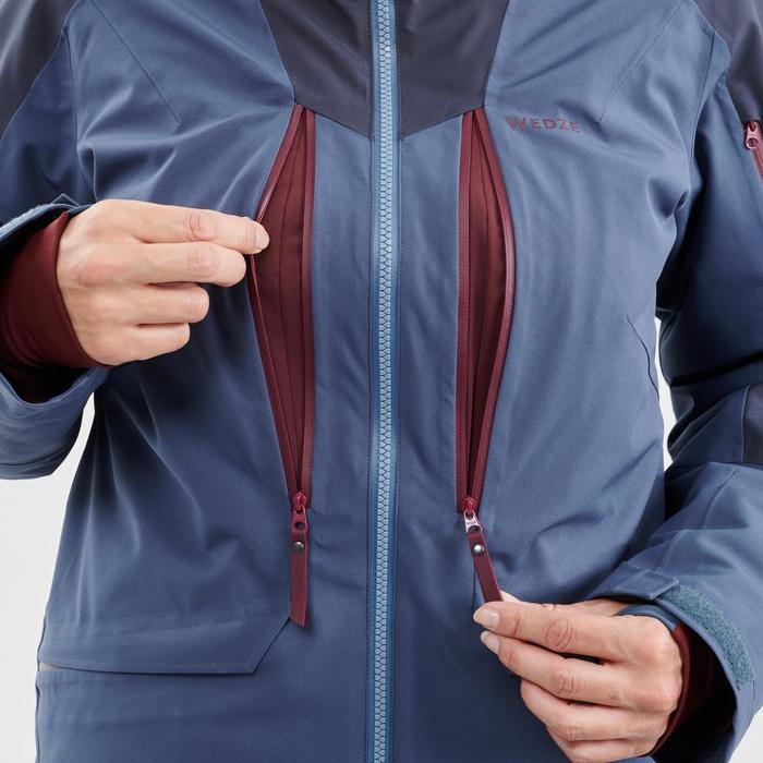 Ski-jas voor dames Freeride FR500 blauw