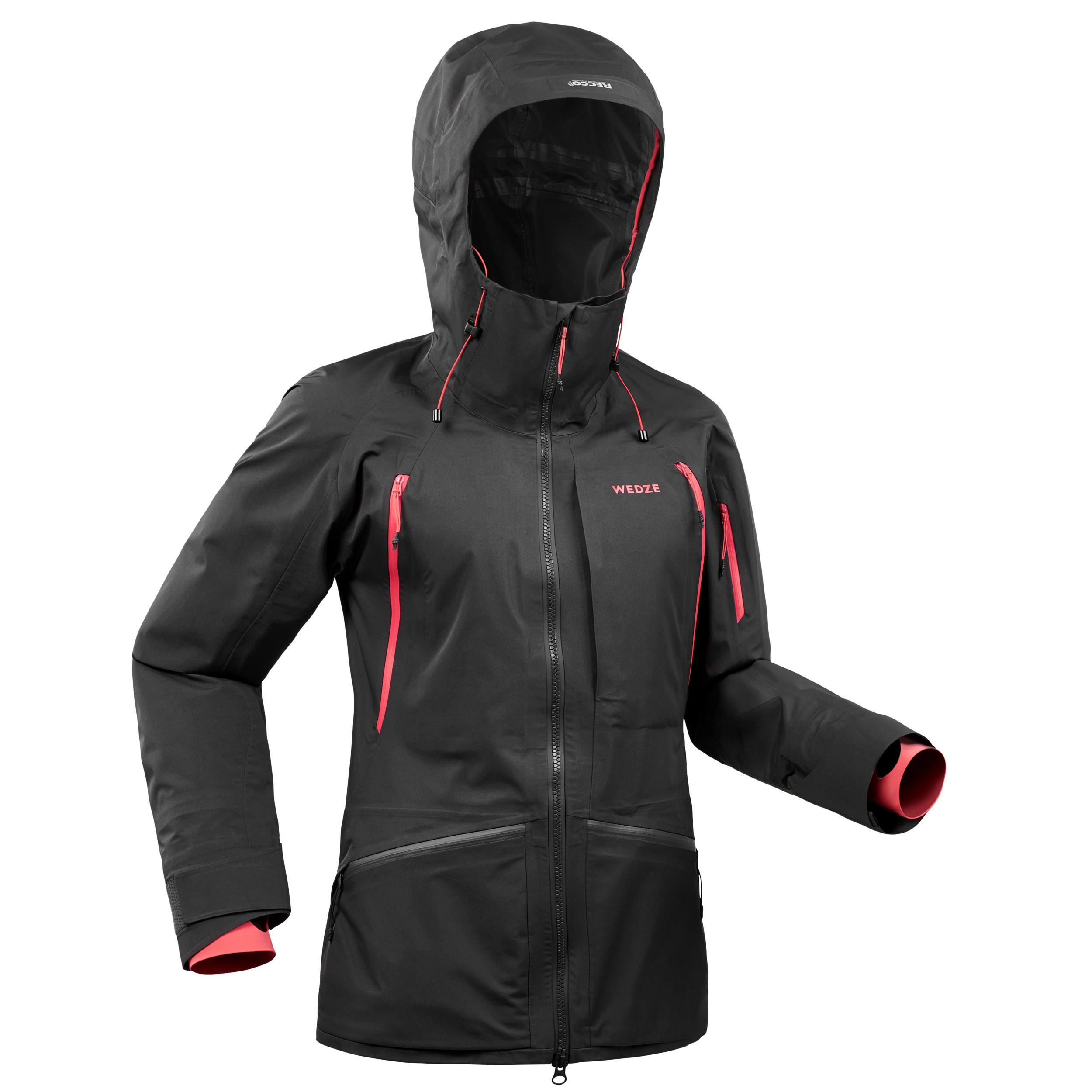 Veste de ski freeride femme FR900 Noir rose - Wedze