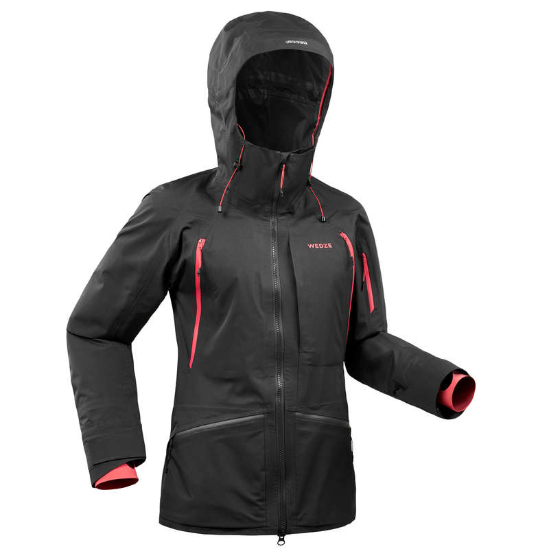 WOMAN'S FREERIDE SKIING CLOTHING Clothing - W Ski Jkt FR900 - Black Pink WEDZE - Jackets and Coats