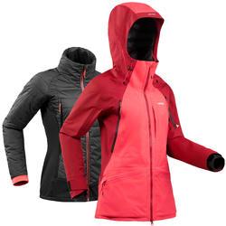 女款自由式滑雪外套SFR 900勃艮第酒紅/粉紅