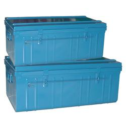 2er-Set Transportkisten für den Reitsport blau 75l/95l