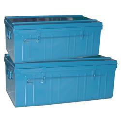 Set van 2 metalen opbergkisten paardrijden 75 l en 95 l blauw