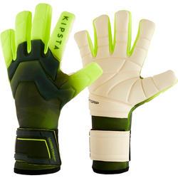 Keeperhandschoenen voor volwassenen voetbal F900 negatieve naden zwart/geel