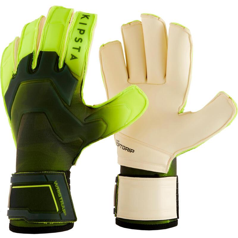Keepershandschoenen voetbal volwassenen F900 rollfinger naden zwart/geel