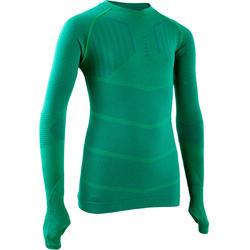 Kids' Long-Sleeved Football Base Layer Top Keepdry 500 - Green