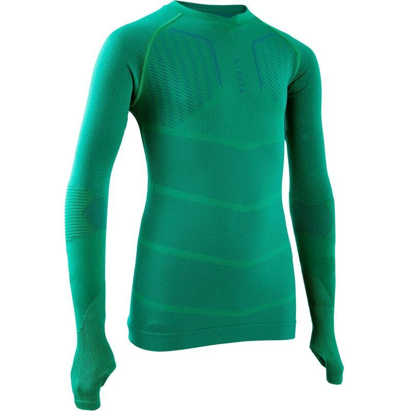 兒童款足球長袖底層衣Keepdry 500-綠色