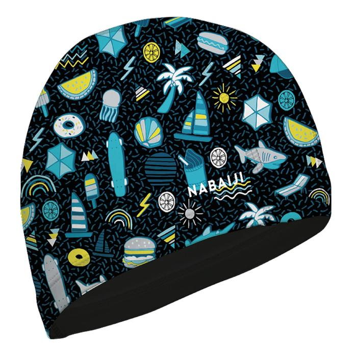 SWIMMING CAP SILICONE MESH PRINT - ALL PLAYOK BLK