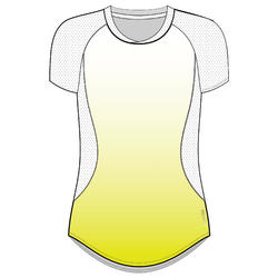 Women's Polyester Slim Fit Fitness T-Shirt - Yellow/White
