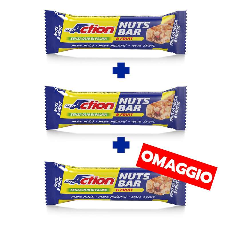 BARRETTE, GEL E RECUPERO Alimentazione - Nuts bar frutta secca pack 2+1 PROACTION - Alimentazione