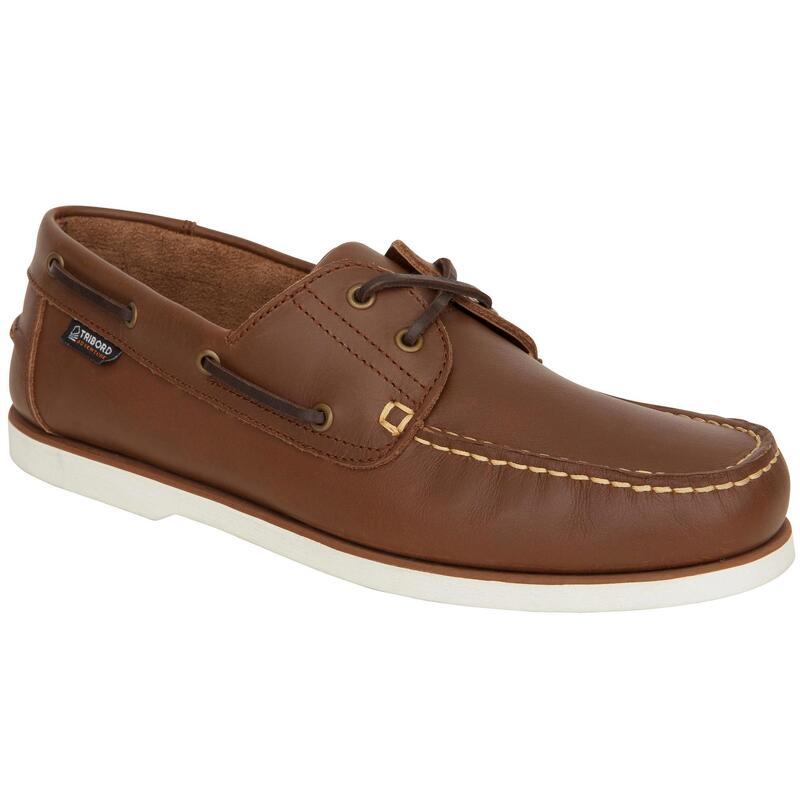 Zapatos Náuticos Piel Sailing 500 Adulto Marrón