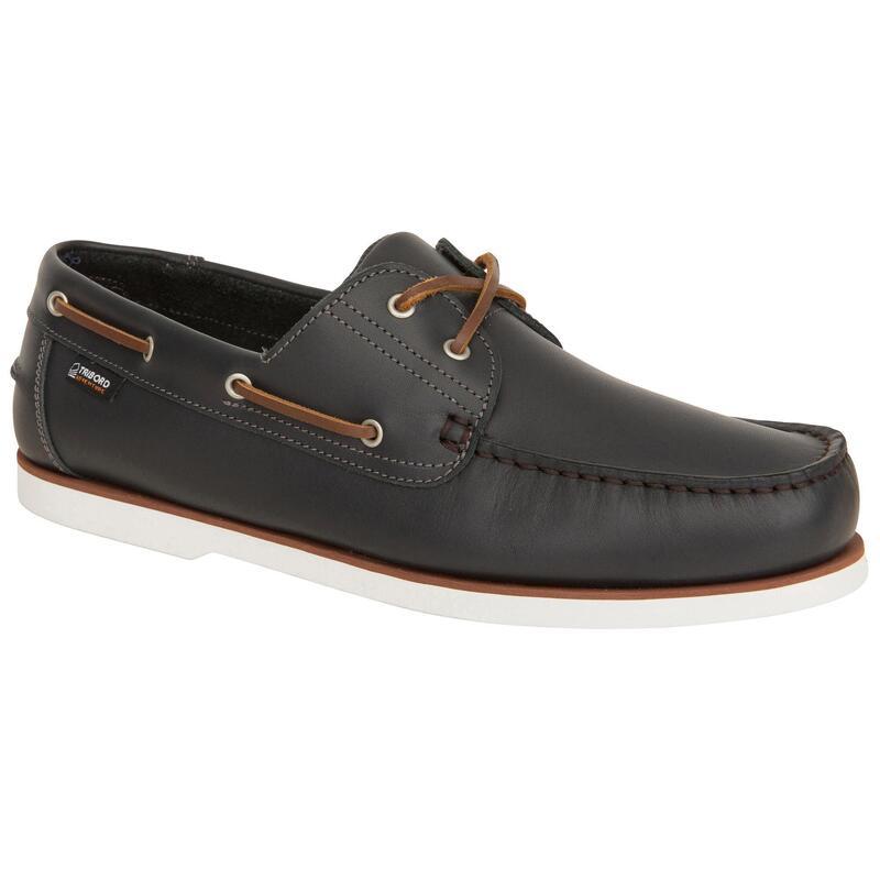 Zapatos Náuticos Piel Sailing 500 Adulto Carbono