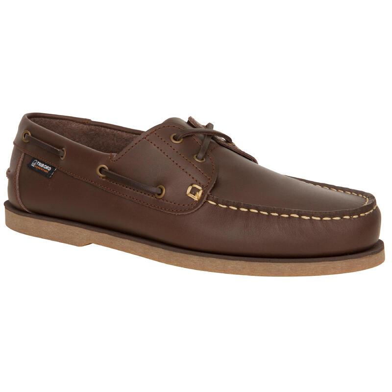 Zapatos Náuticos Piel Sailing 500 Adulto Marrón Oscuro