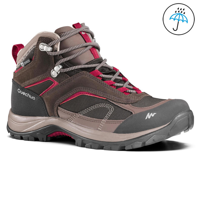 d731e2958d1 Women's Hiking Shoes MH100 (Mid Ankle) Waterproof - Brown
