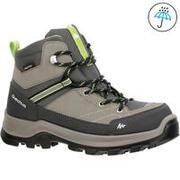 Kid's Hiking Shoe WATERPROOF (Mid Ankle) MH500 - Green/Grey
