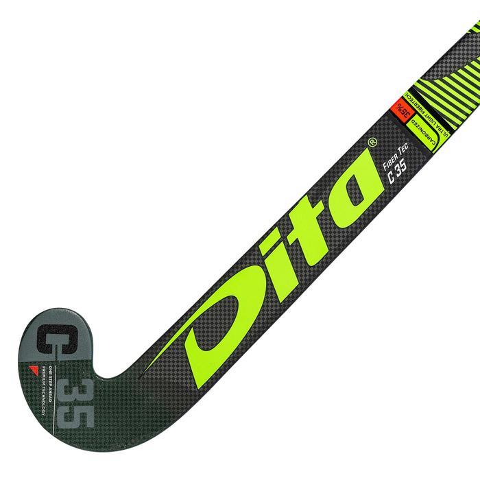 Hockeystick voor volwassenen gevorderd mid bow 35% carbon FibTec C35 groen